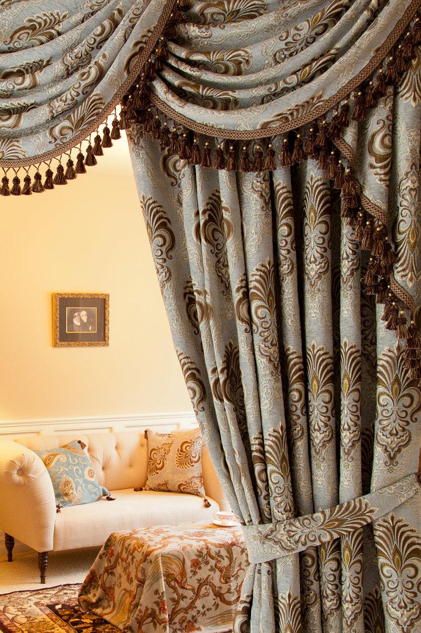 Bleu Fleur De Lis Overlapping Swag Valances Curtain Drapes 100 Inch Picture  2