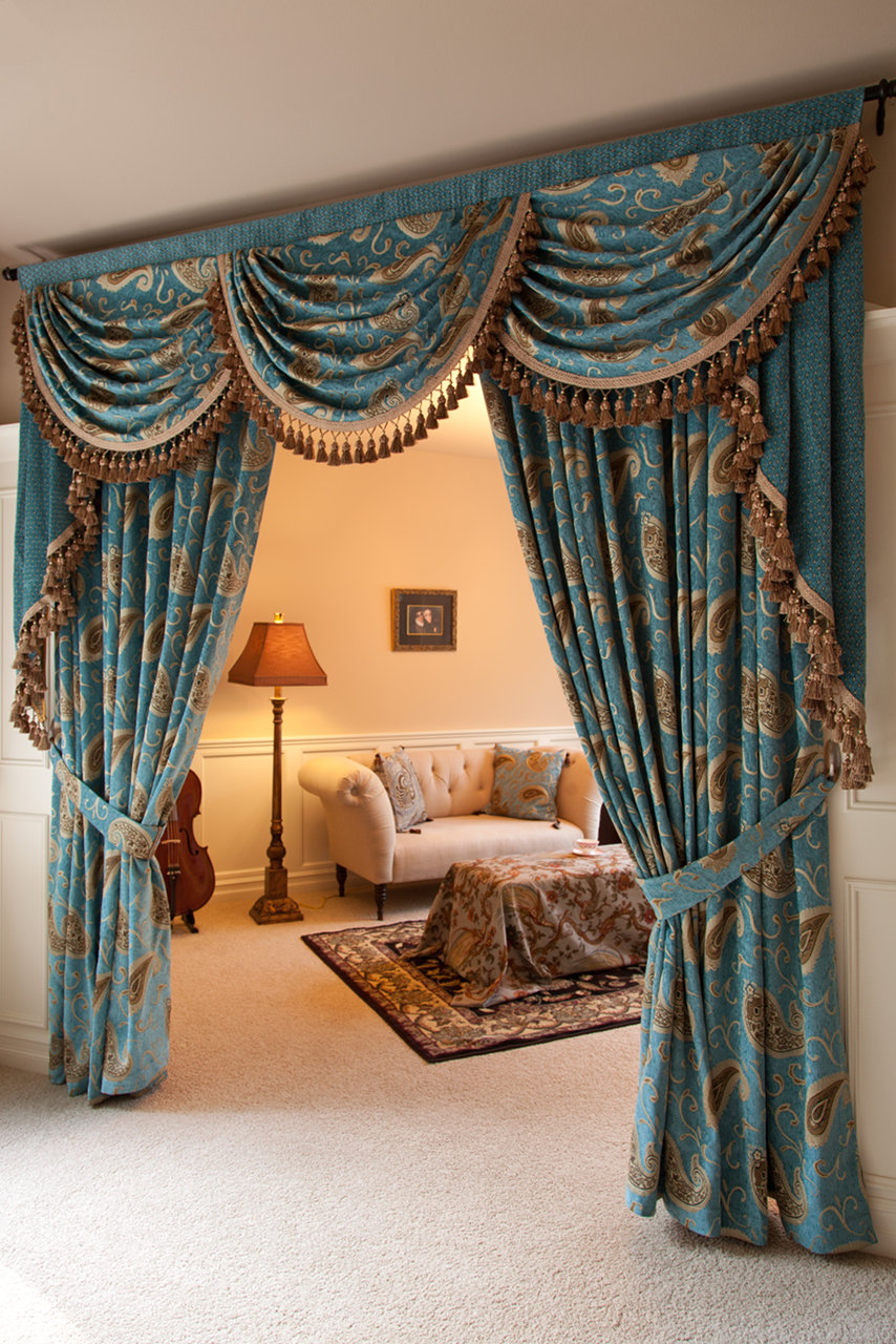 Medici sapphire swag valances curtain drapes for Celuce curtains