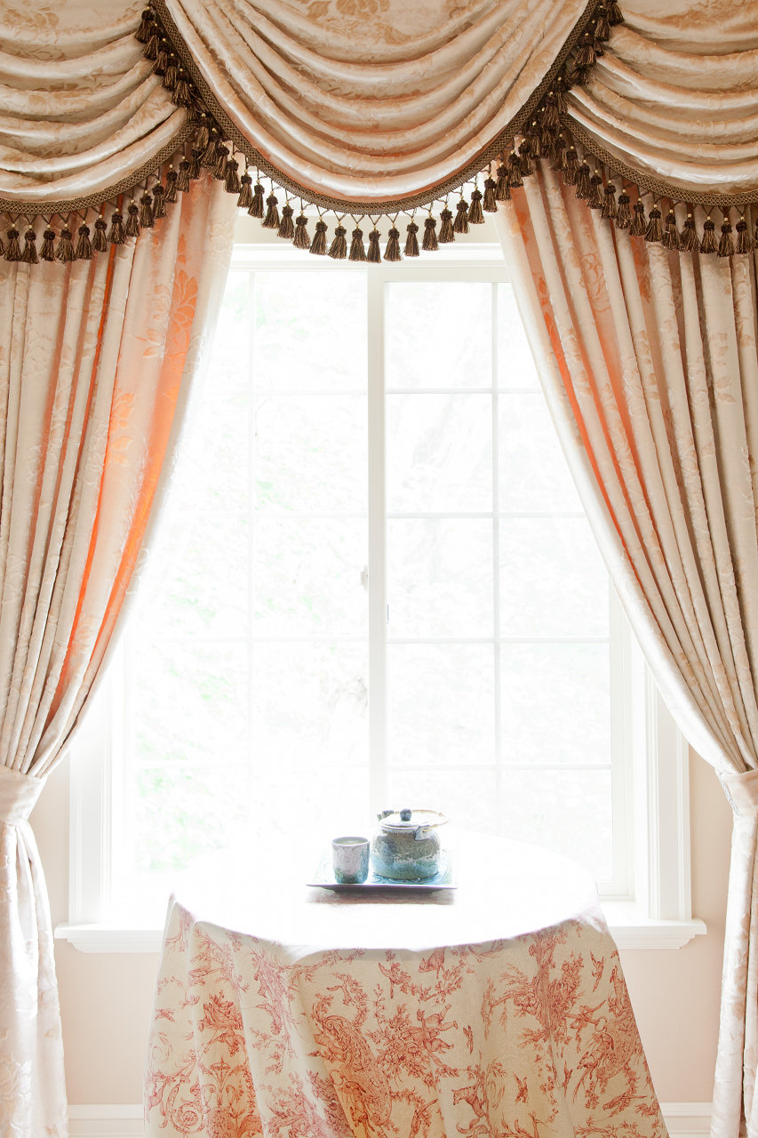 peony pavillion swags and tails valance curtain drapes. Black Bedroom Furniture Sets. Home Design Ideas