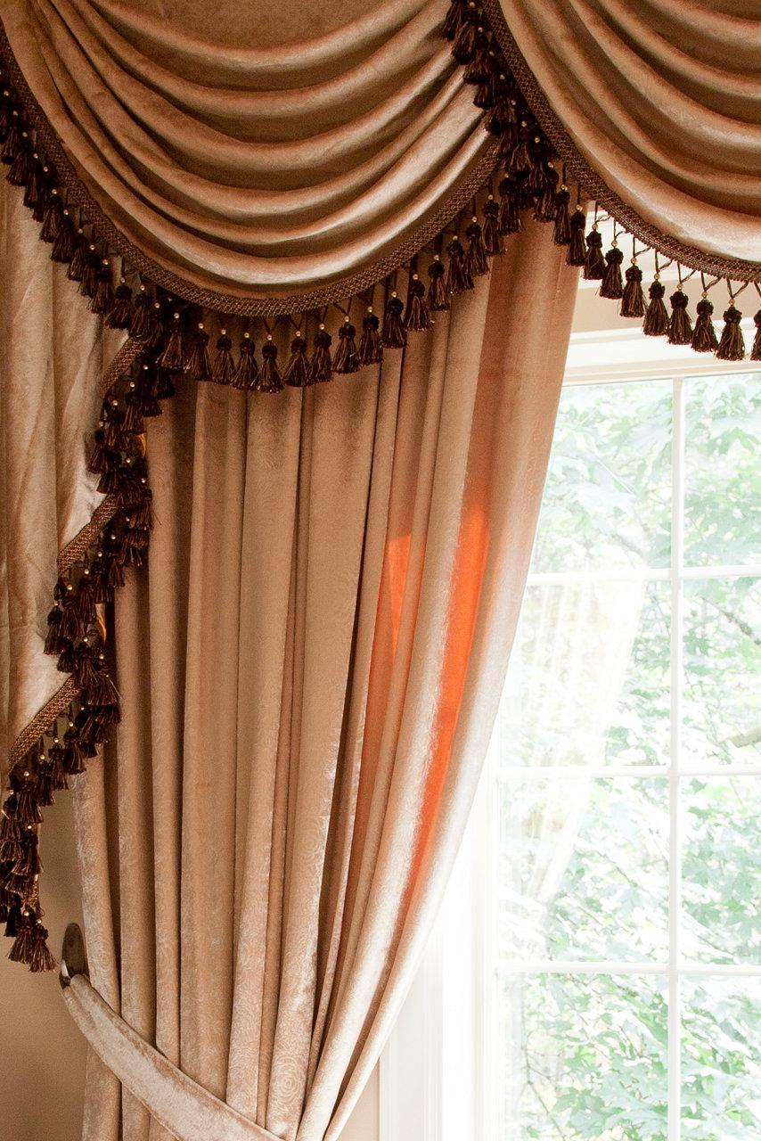 Classic Overlapping Swag Valances Curtain Drapes Pearl Dahlia