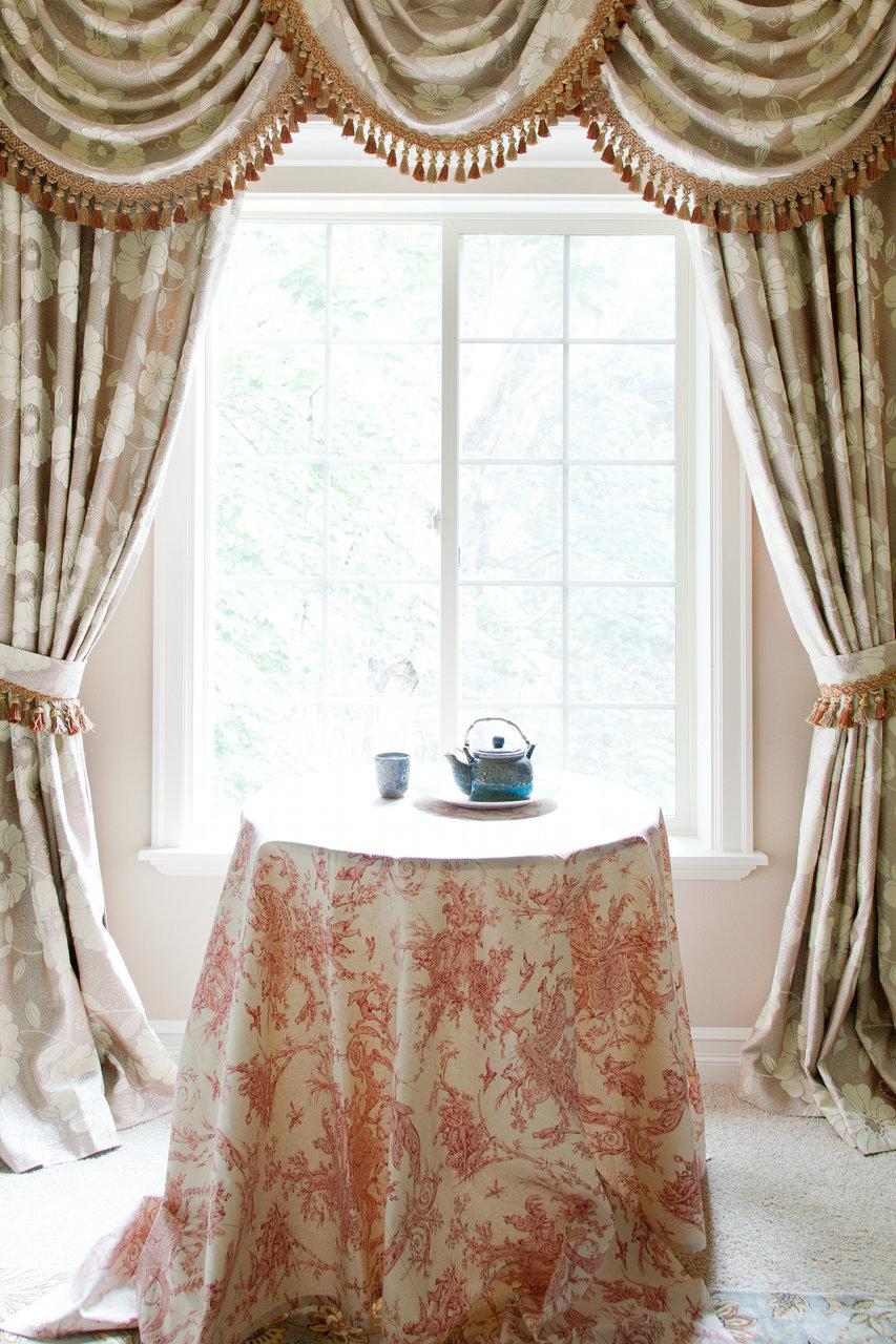 Green camellia swag valances curtain draperies