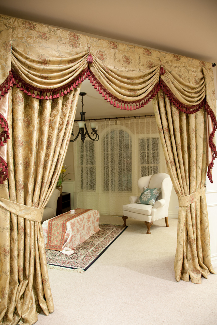 Versailles rose swag valances curtain drapes 100 for Curtains and drapes
