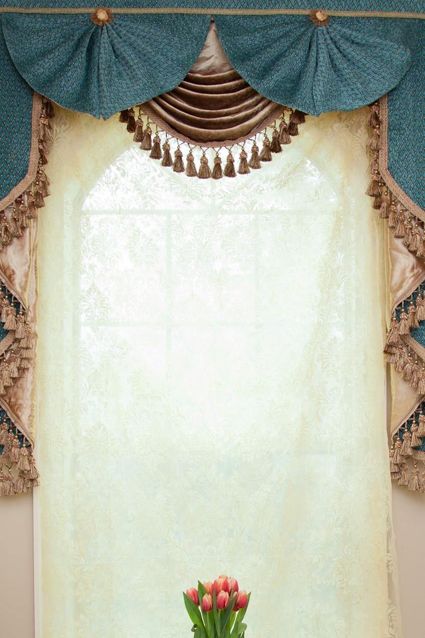 blue salon swag valances curtain drapes 50 39 39. Black Bedroom Furniture Sets. Home Design Ideas