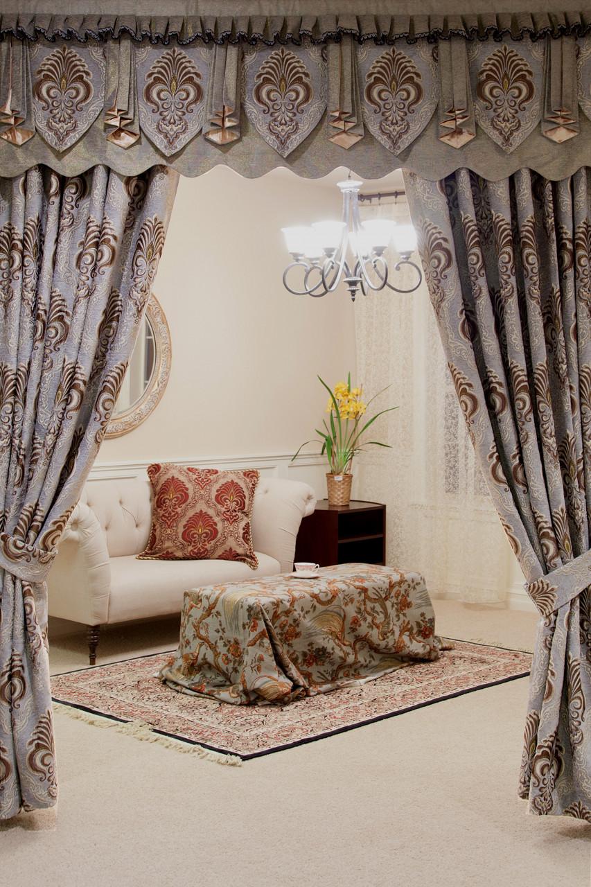 Bleu Fleur De Lis Roman Style Valances Curtain Drapes