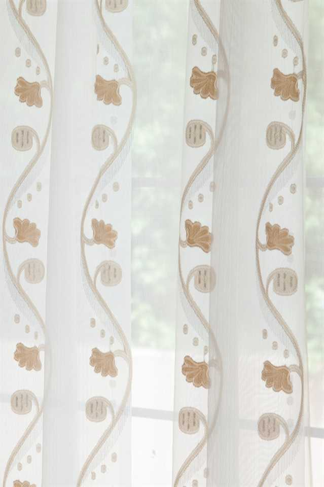Picture of Rose and Vine Sheer Curtains - Gold