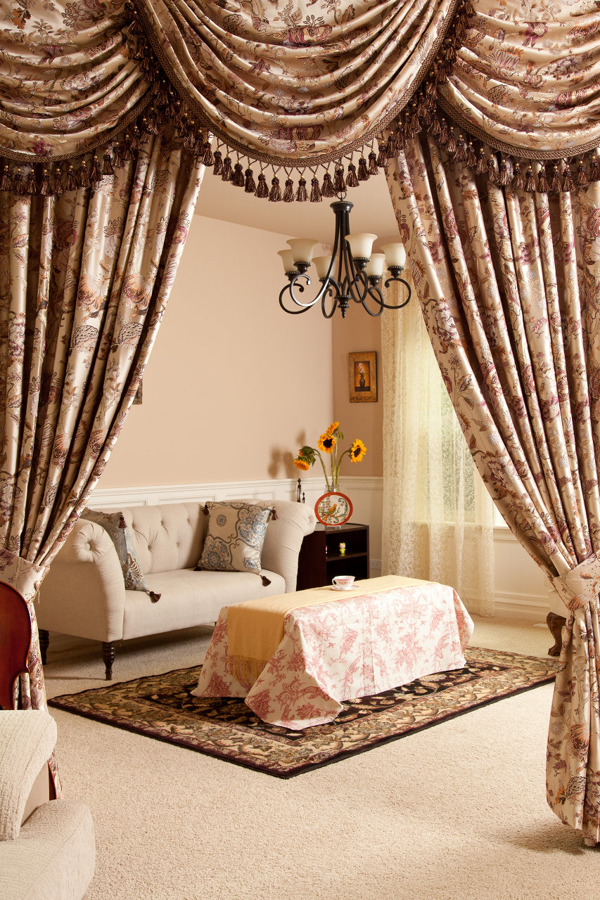 Classic Overlapping Swag Valances Curtain Drapes Oriental Tree Of Life
