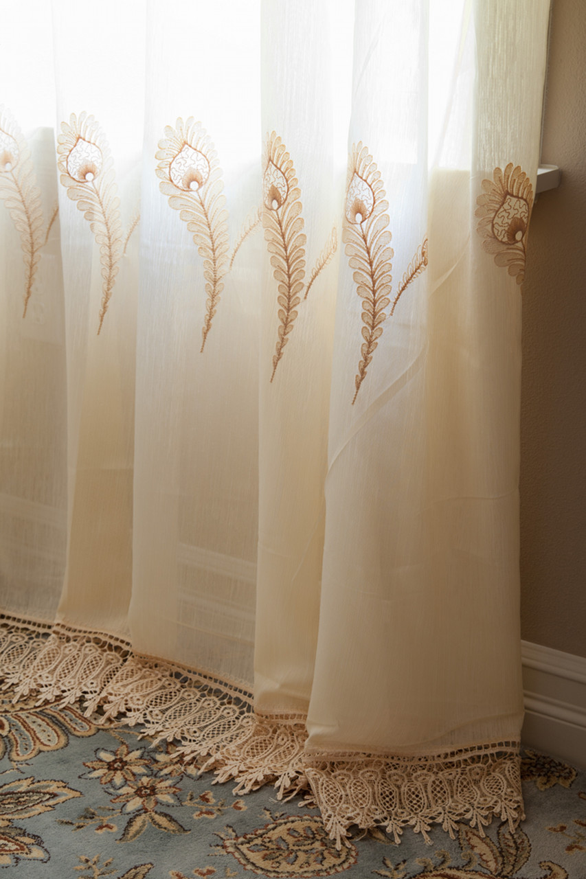 Sheer curtains with patterns - Yellow Feather Pattern Sheer Curtains Gold Picture 3