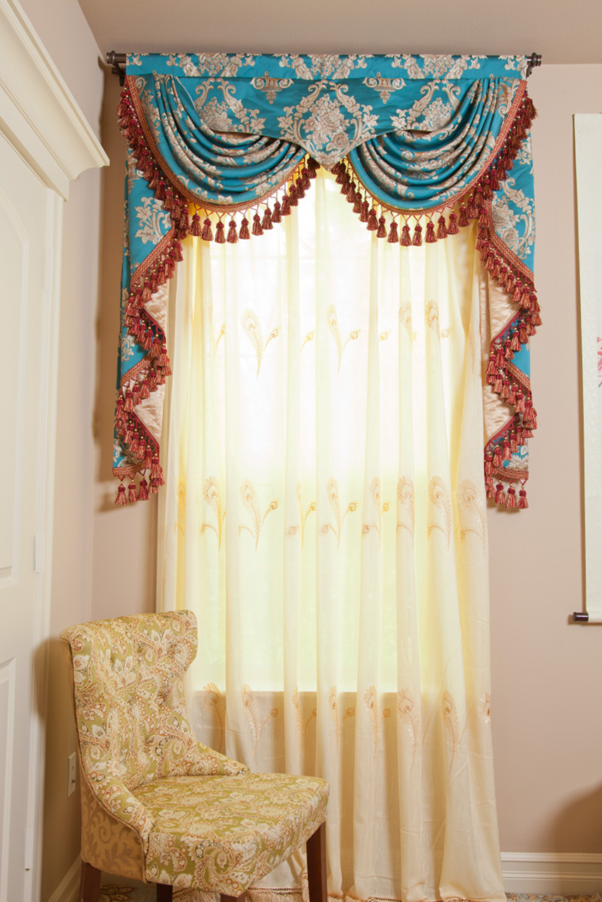 Yellow Feather Pattern Sheer Curtains Gold