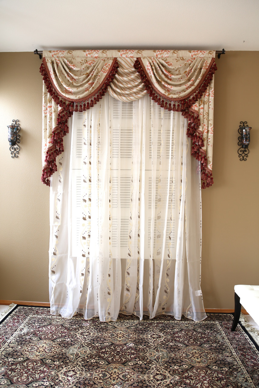 Debutante Overlapping Swag And Tail Valance Curtains Picture 1