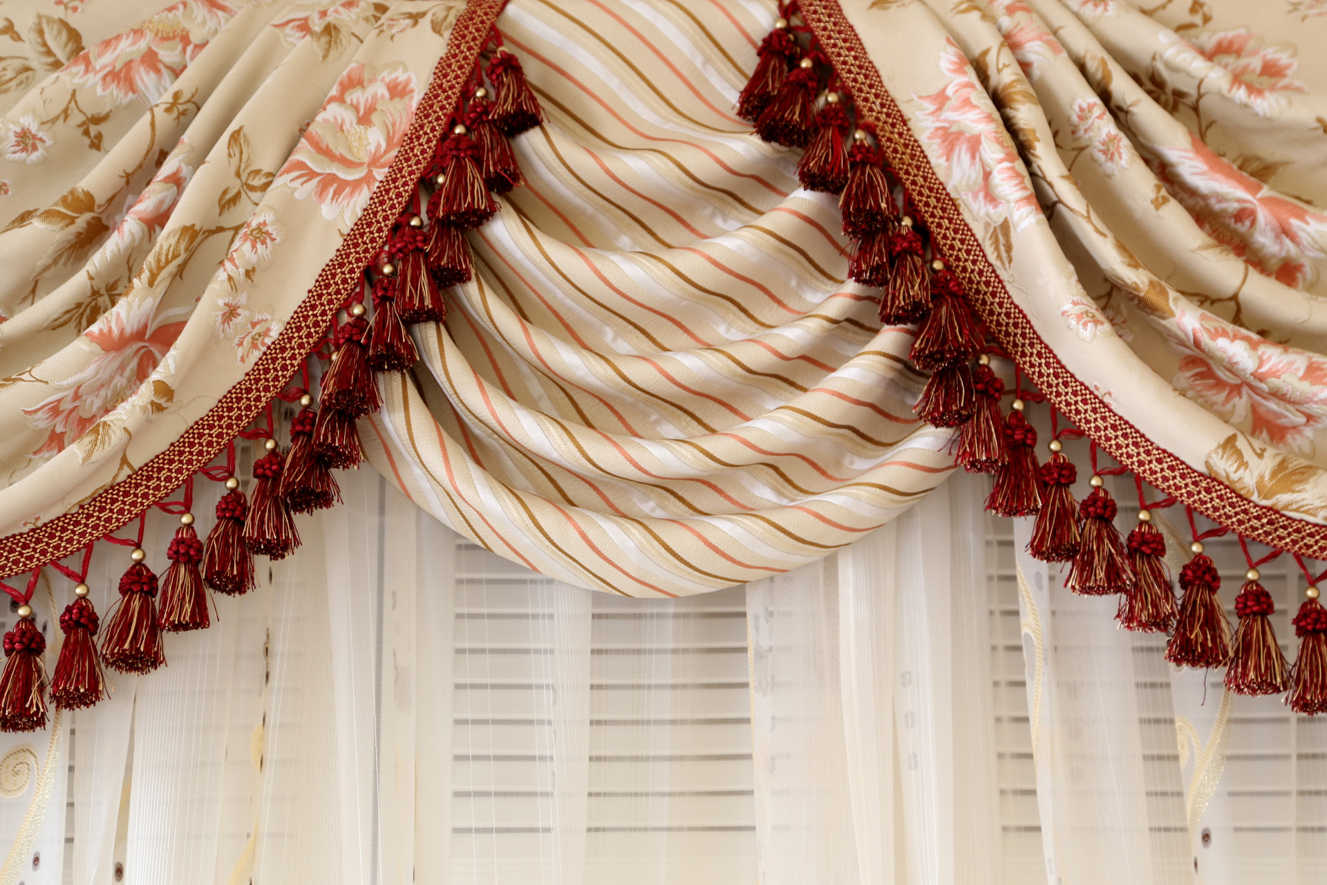 Picture Of Debutante   Classic Overlapping Swag Valance Curtains