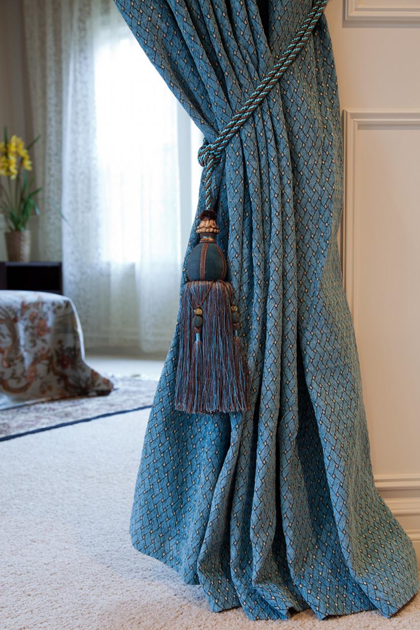 Paris salon swag valances curtain drapes blue chenille for Pareti salone