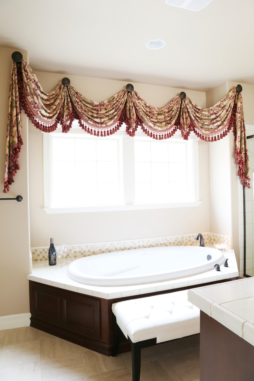 Drapery And Curtain Ideas: Rosy Queen Swags Over Rosette Valance Curtain Drapes
