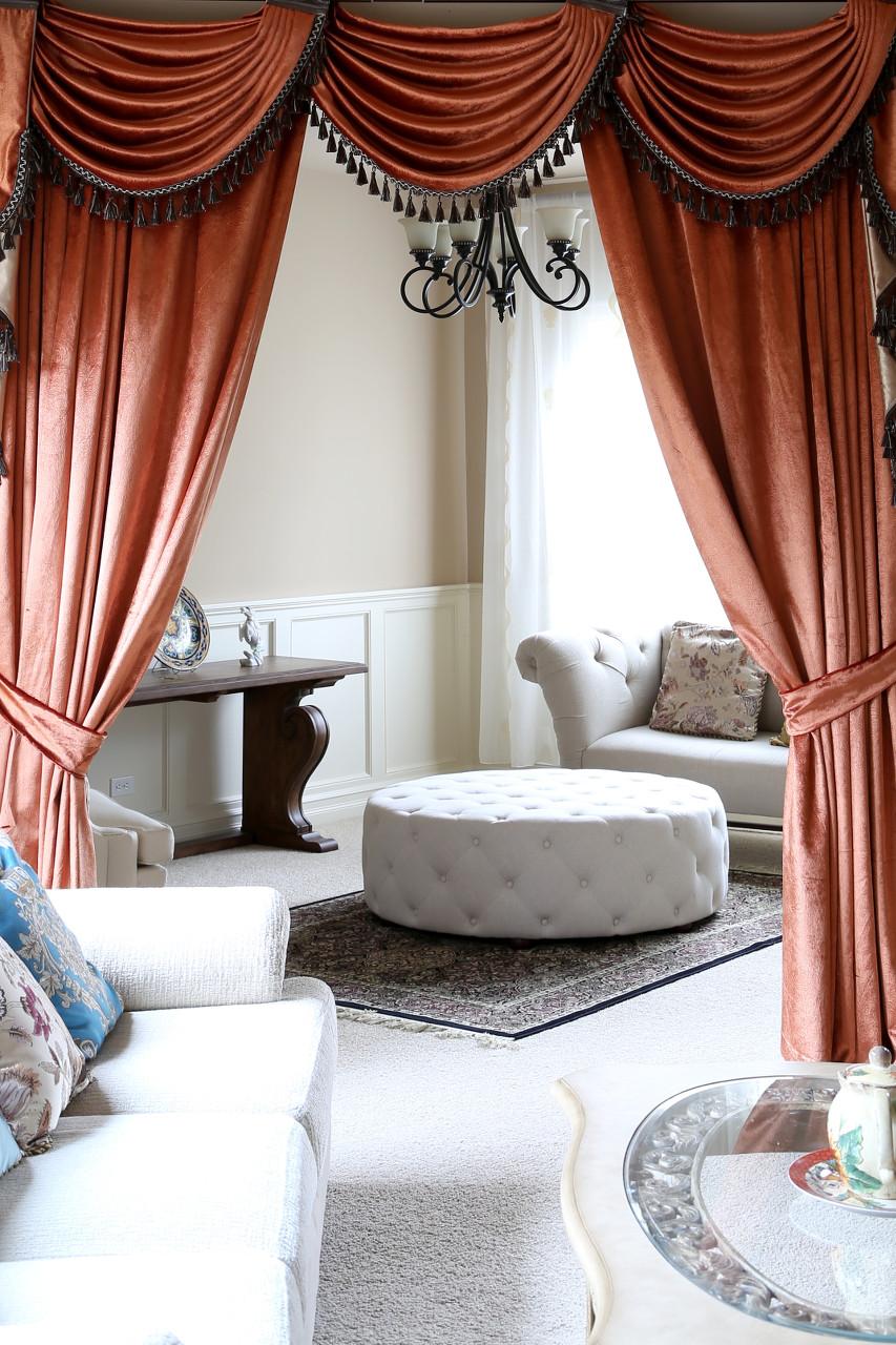 orange pearl dahlia flip pole swag valance draperies. Black Bedroom Furniture Sets. Home Design Ideas