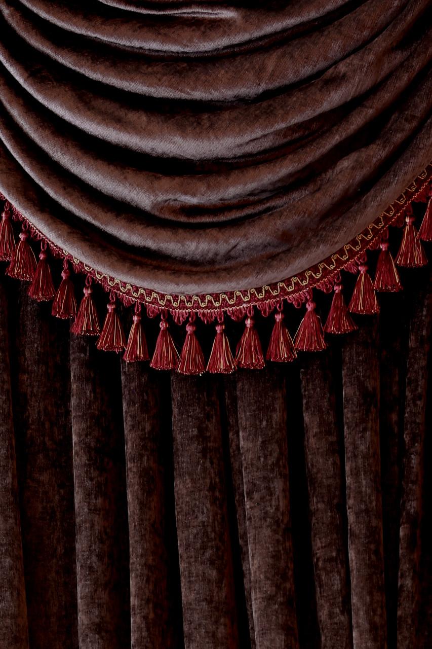 Dark Brown Chenille Flip Pole Swag Valance Draperies