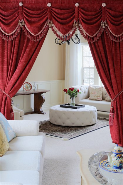 Red chenille austrian diamond swags and valances curtains for Celuce curtains