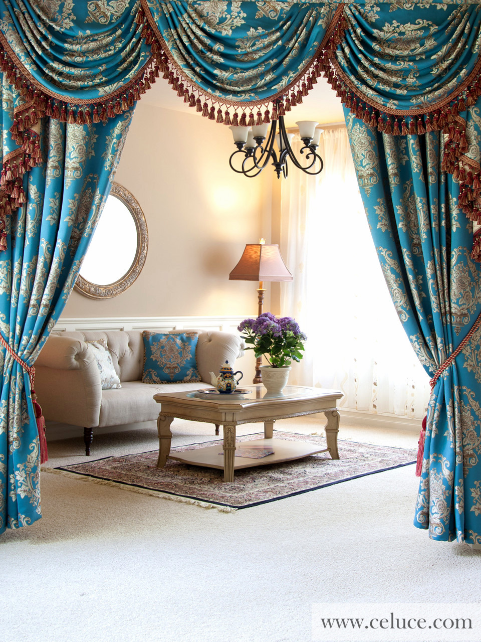 Classic Overlapping Swag Valances Curtain Drapes Blue Lantern Picture 0