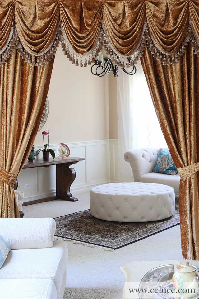Luxury swags and tails valance curtain drapes for Living room valances and swags