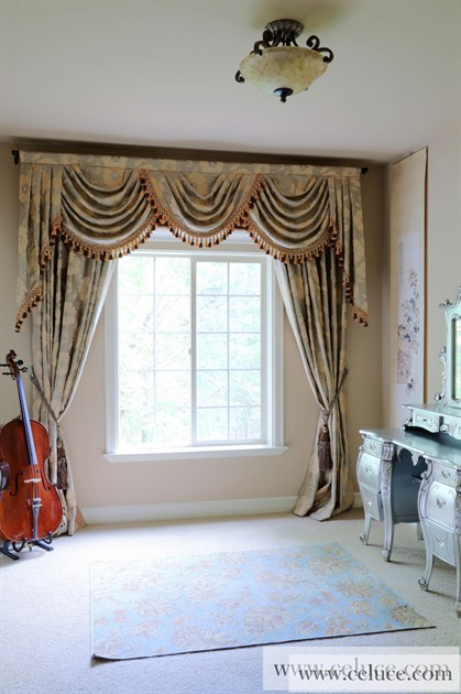 Green Camellia Swag Valances Curtain Draperies