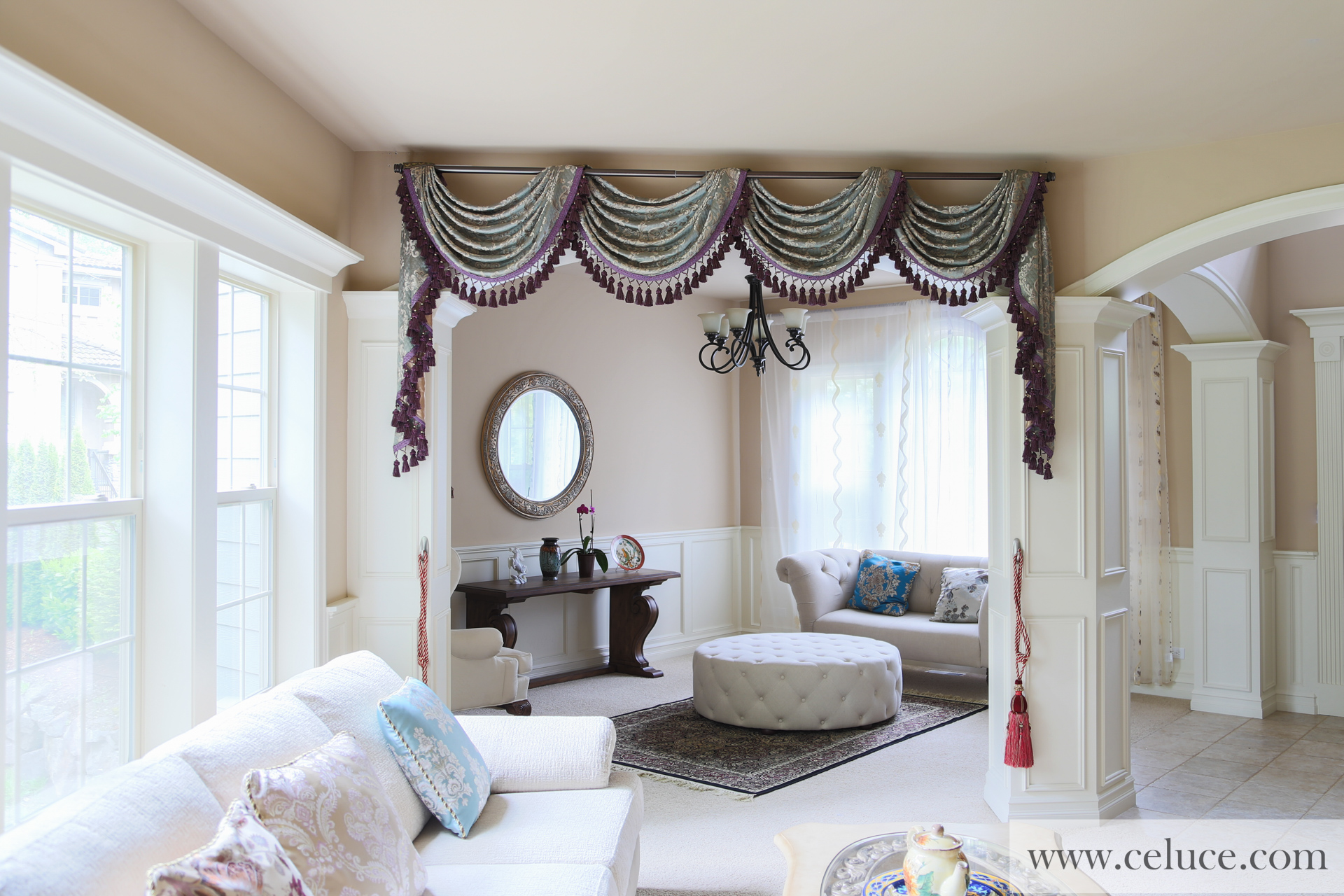 Egyptian Blue Pole Swag Valance Curtains Picture 2