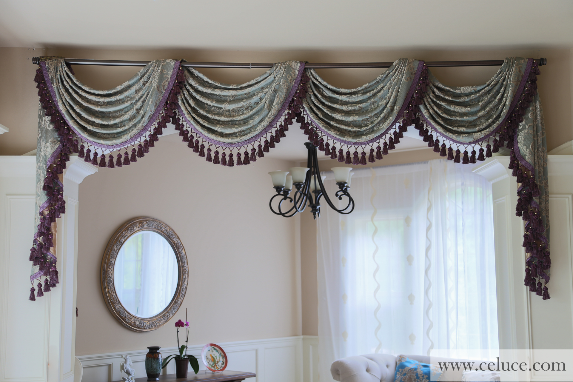 Egyptian Blue Pole Swag Valance Curtains Picture 1