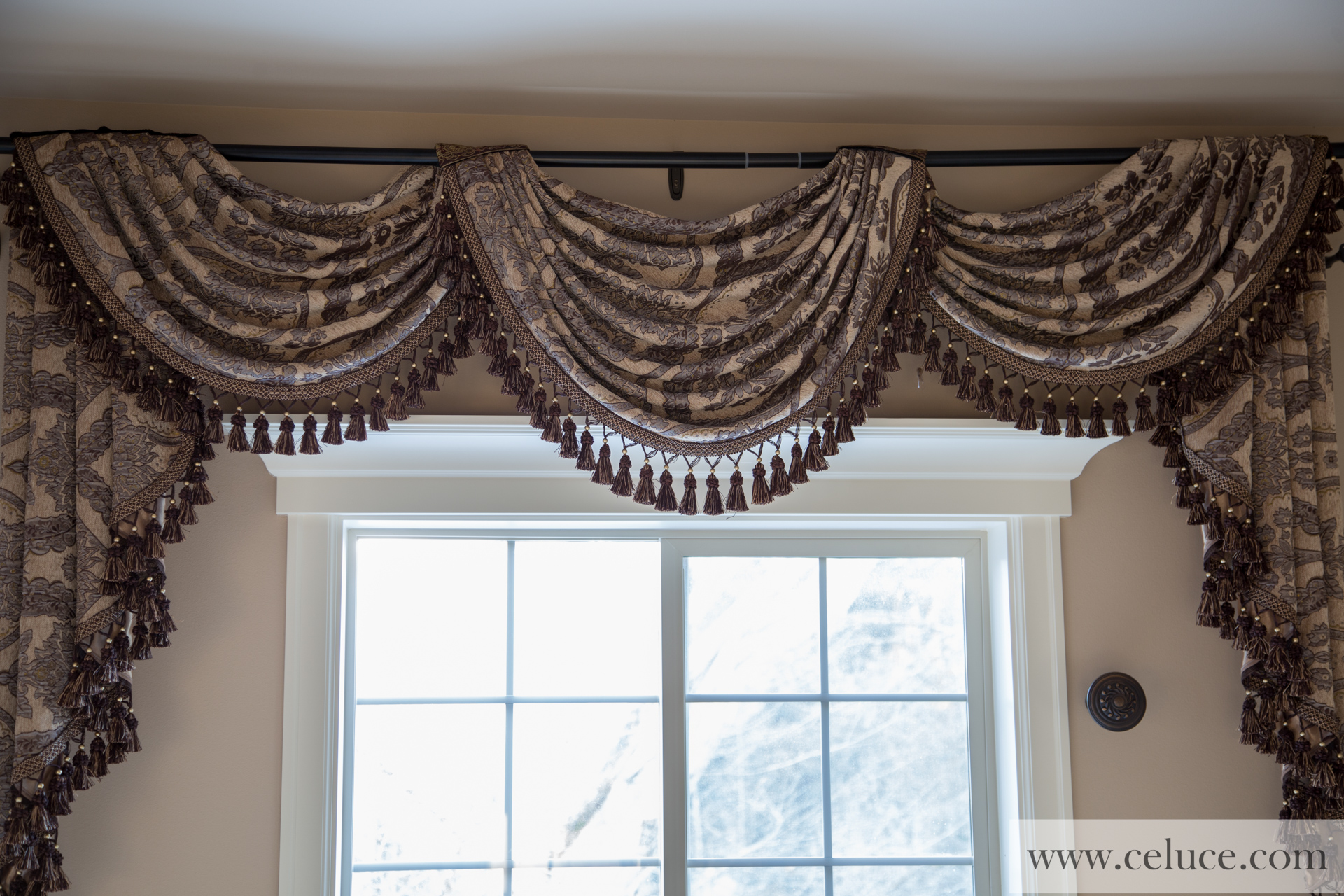 Queen Spades Pole Swag Valance Curtains