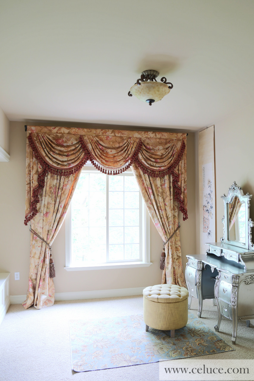 Pink Floral Swags And Jabots Valance Curtain Drapes