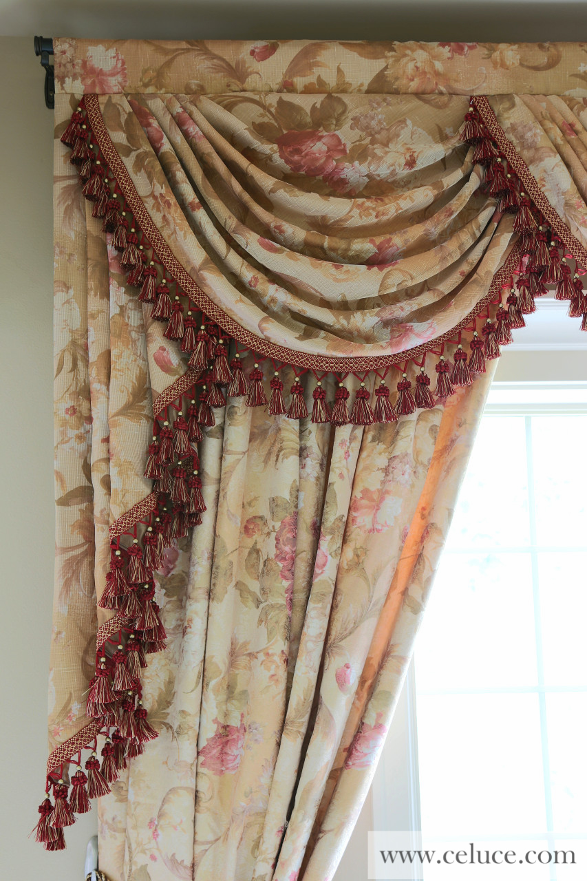 Pink floral swags and jabots valance curtain drapes for Celuce curtains