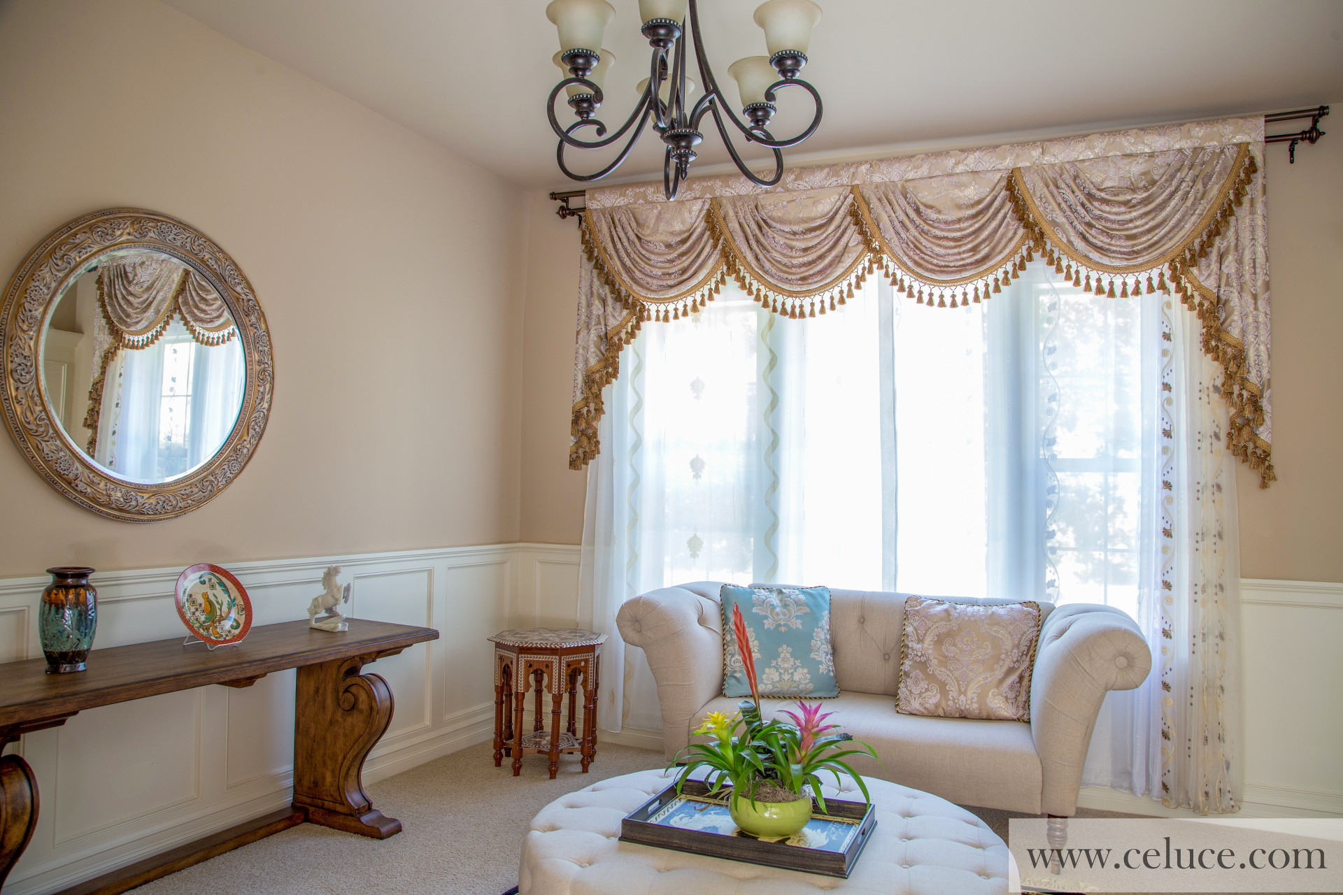 with treatment beaded pin drapes swag trim cascade and valance window asymmetrical