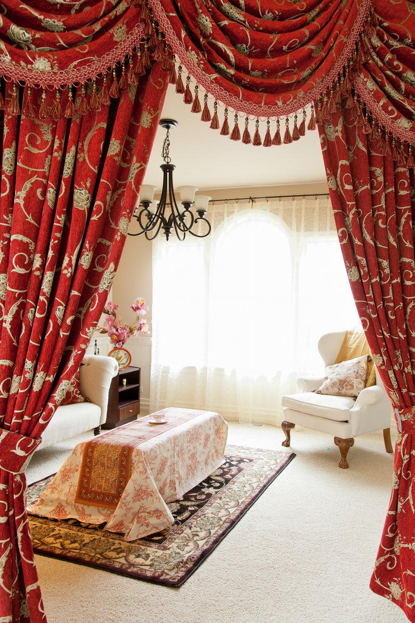 louis xvi royal red swag valances curtain drapes. Black Bedroom Furniture Sets. Home Design Ideas