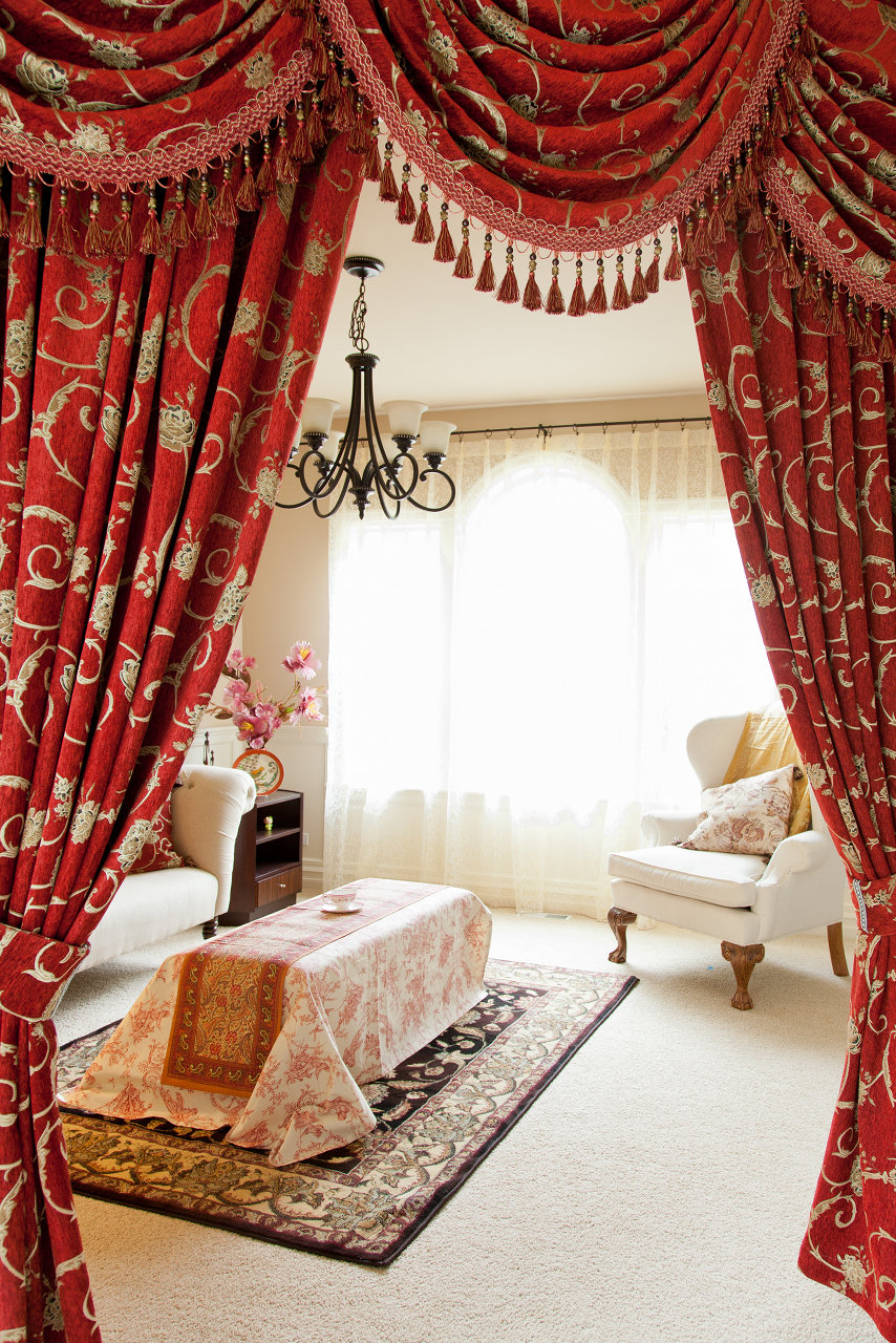 Louis Xvi Royal Red Swag Valances Curtain Drapes