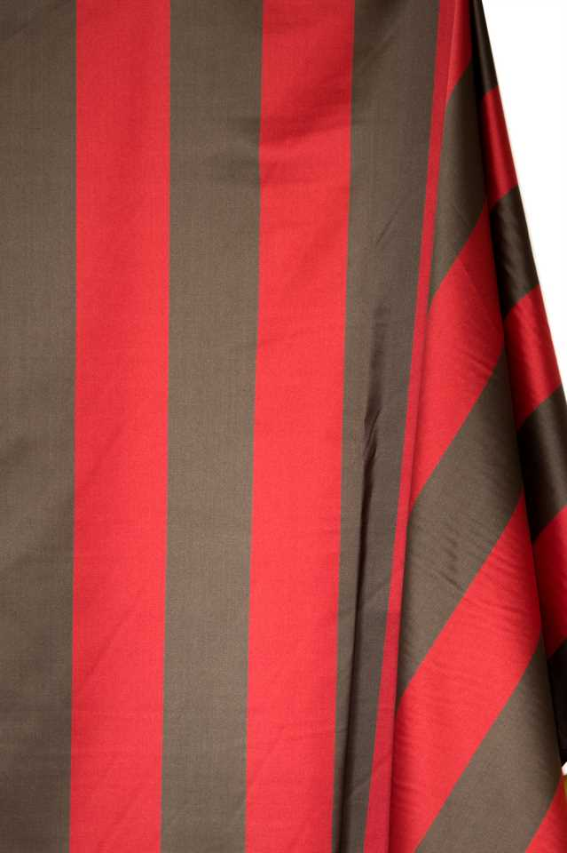 Picture of Stripe Faux Silk - Red and Brown