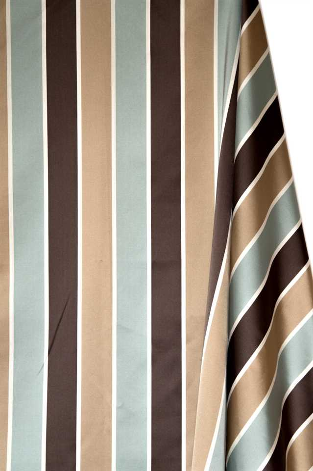 Picture of Stripe Faux Silk - Light Blue, Beige and Brown