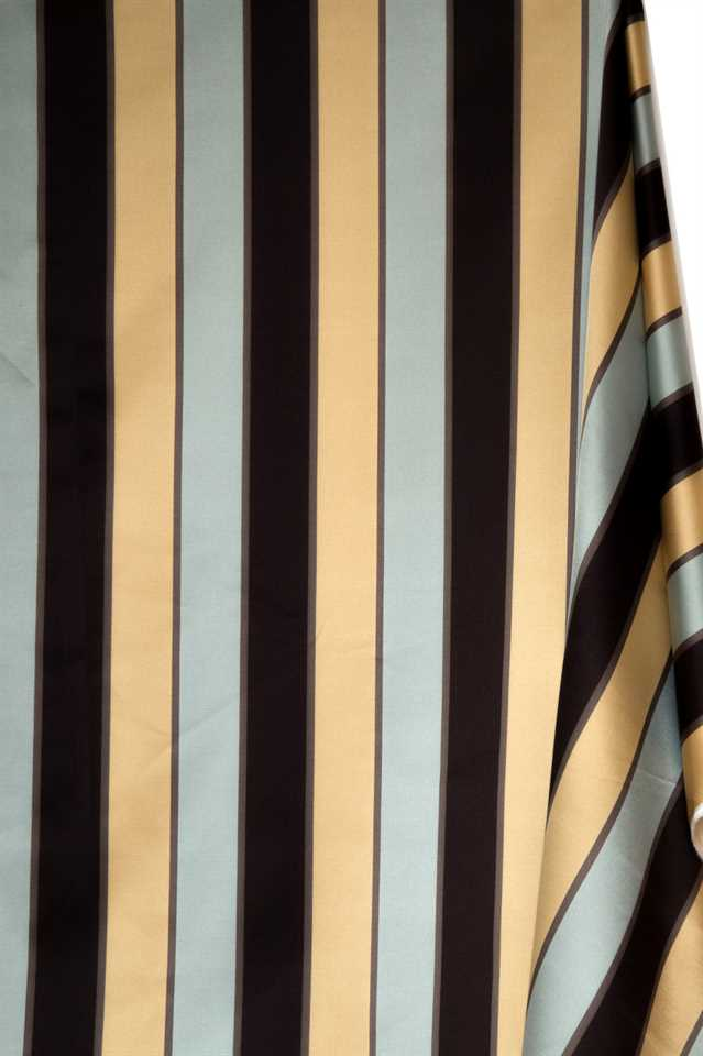 Picture of Stripe Faux Silk - Light Blue, Gold and Brown