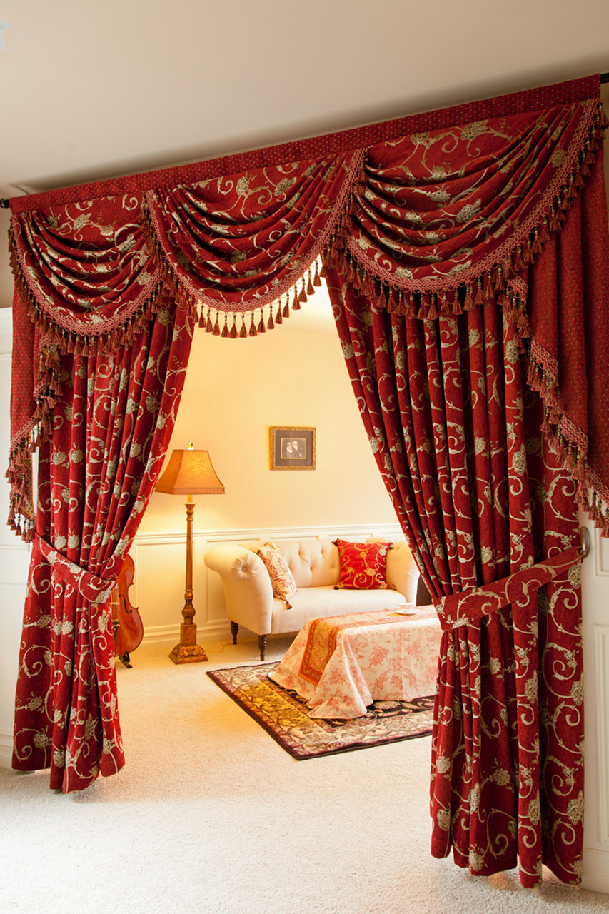 Elegant Louis Xvi Royal Red Swag Valances Curtain Draperies 100 Inch Picture 3