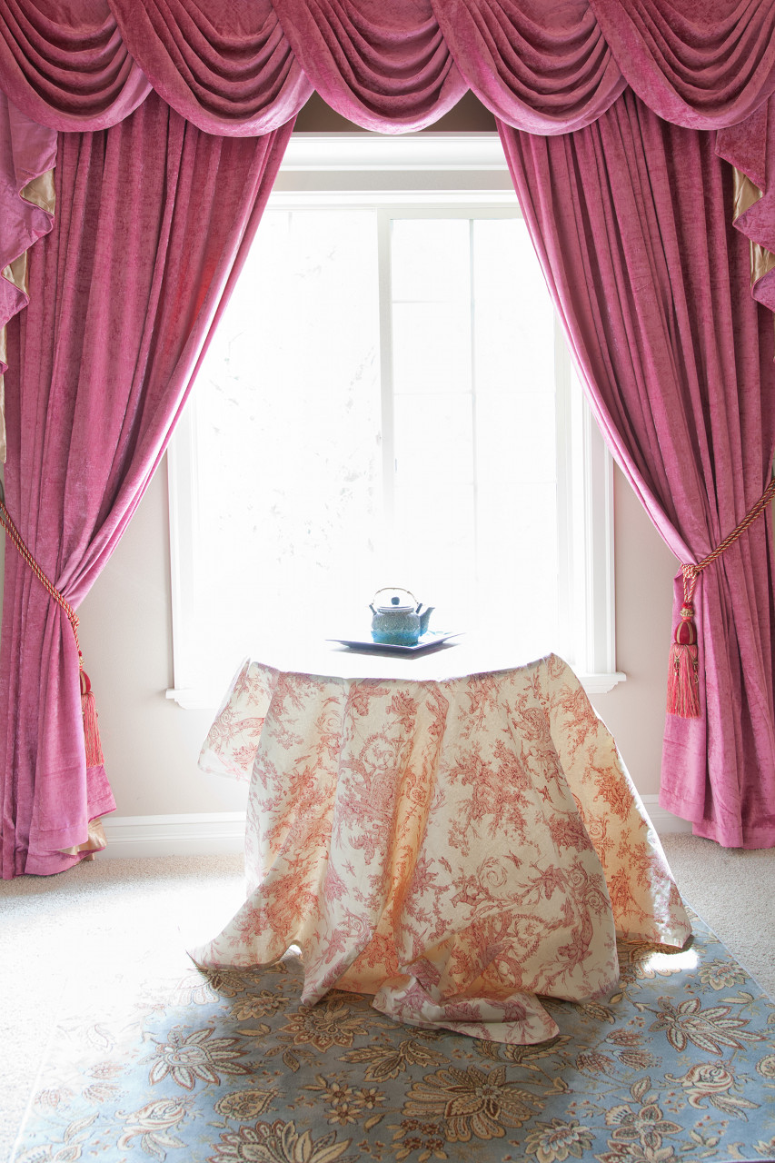 Pink Chenille Swag Valance Drapes 100 Inch