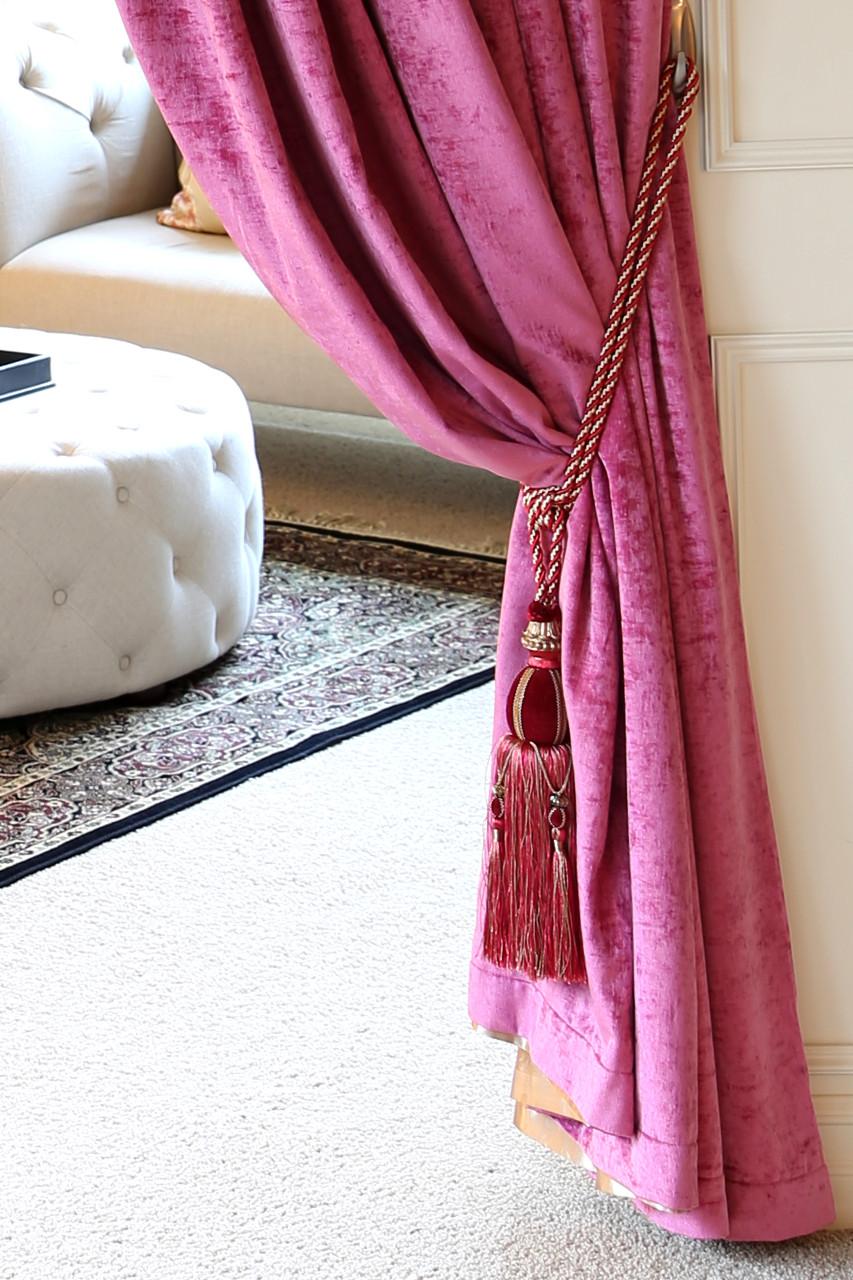 Pink Chenille flip pole swag valance draperies 100