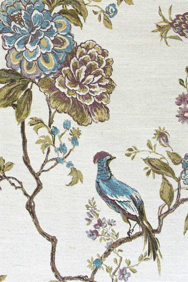 Picture of Bird and Peony - Green and Teal