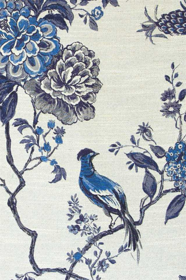 Picture of Bird and Peony - Navy Blue