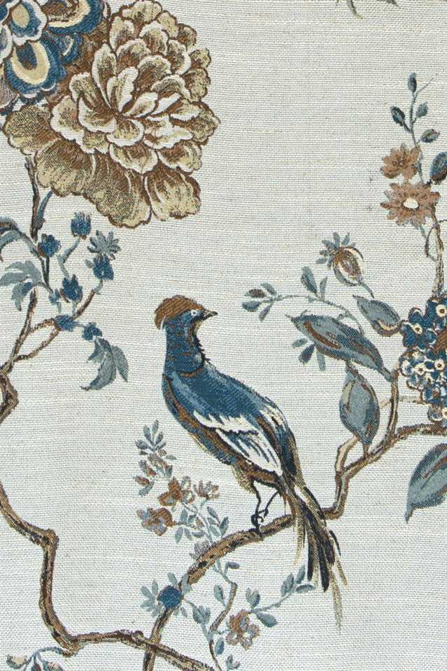 Picture of Bird and Peony - Steel Blue and Brown