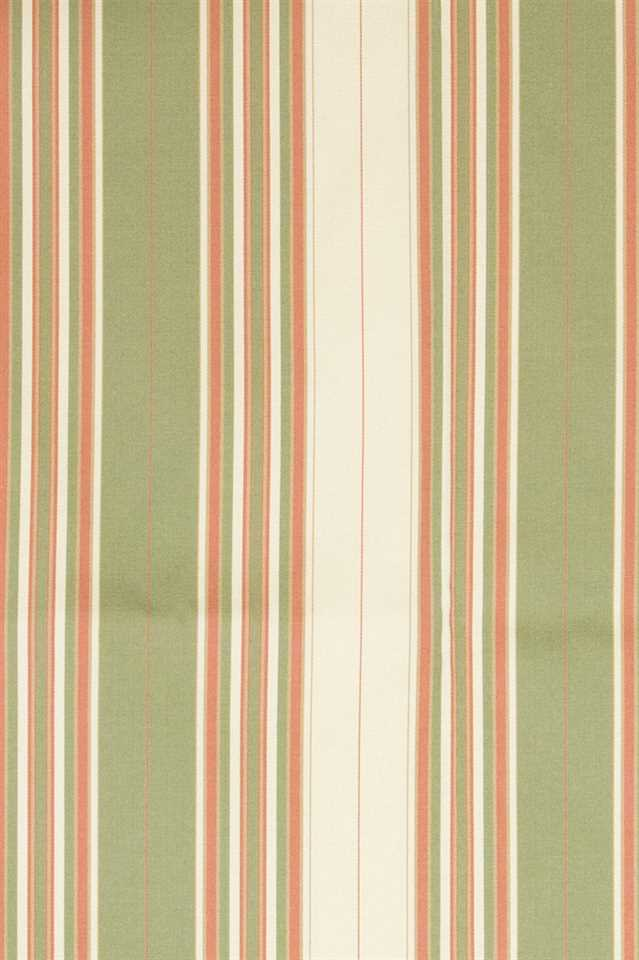 Picture of Narrow Stripe Faux Silk - Green, Coral Pink and Beige