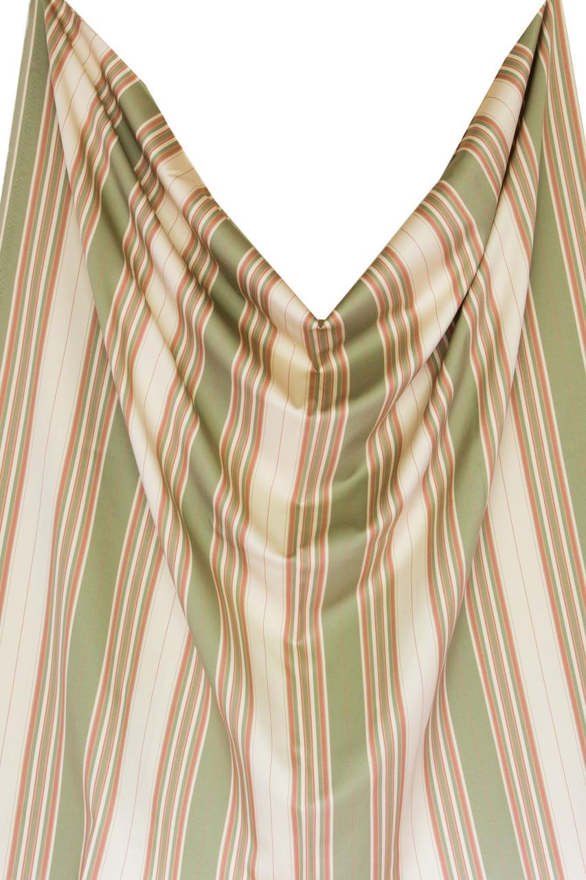 Olive Green Coral Pink Stripe Faux Silk On Beige
