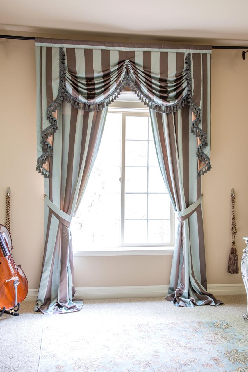 austrian swag valances curtain drapes stripe blue brown. Black Bedroom Furniture Sets. Home Design Ideas