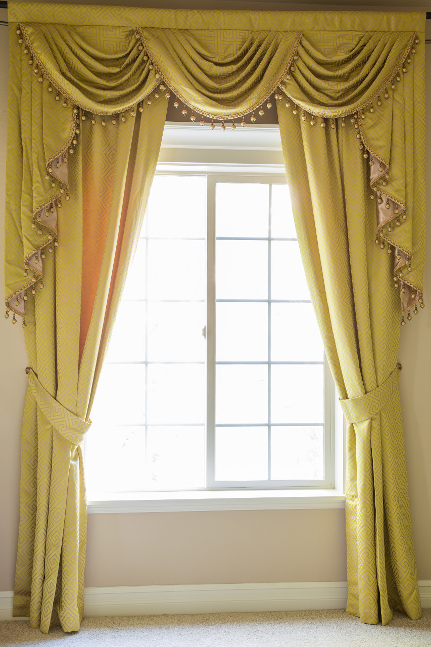 Half overlapping style swag valances curtain drapes yellow for Celuce curtains
