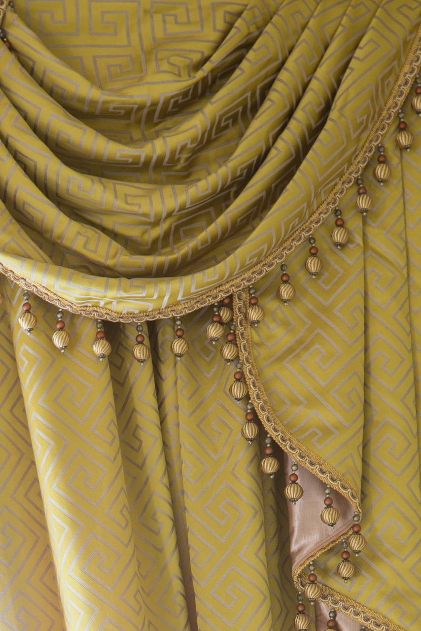 Half Overlapping Style Swag Valances Curtain Drapes Yellow