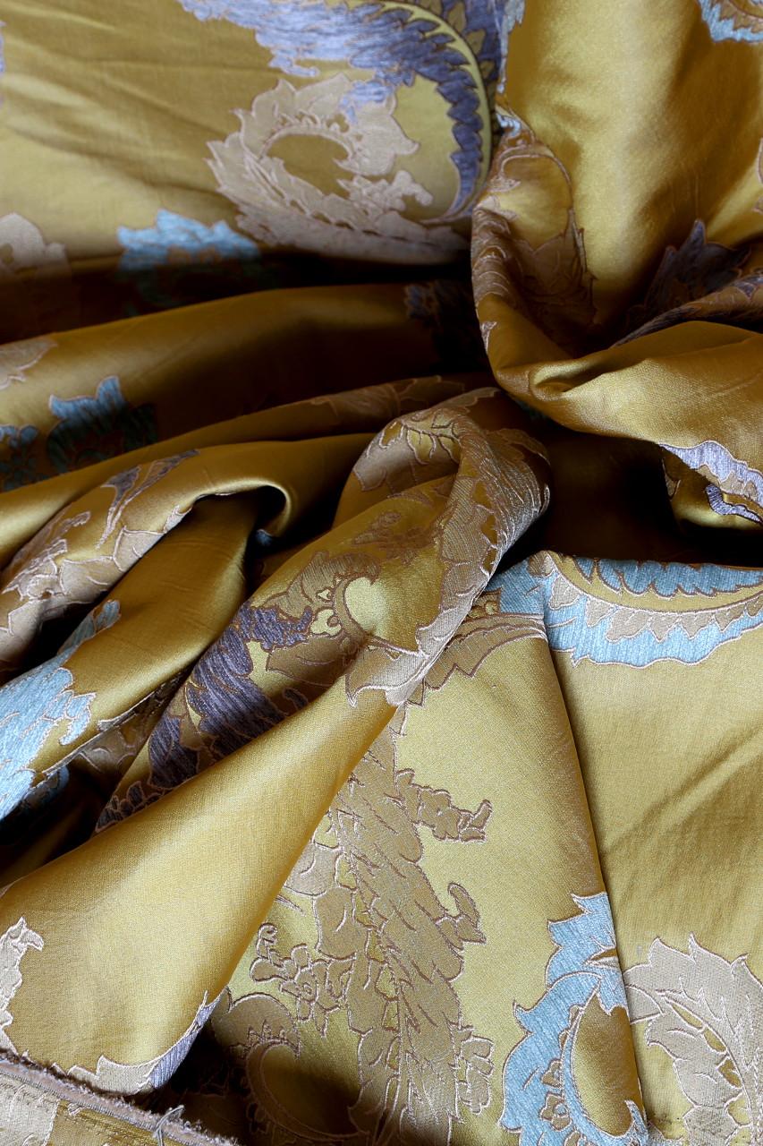 Royal Gold Big Leaf Flip Pole Swag Valance Curtain Set