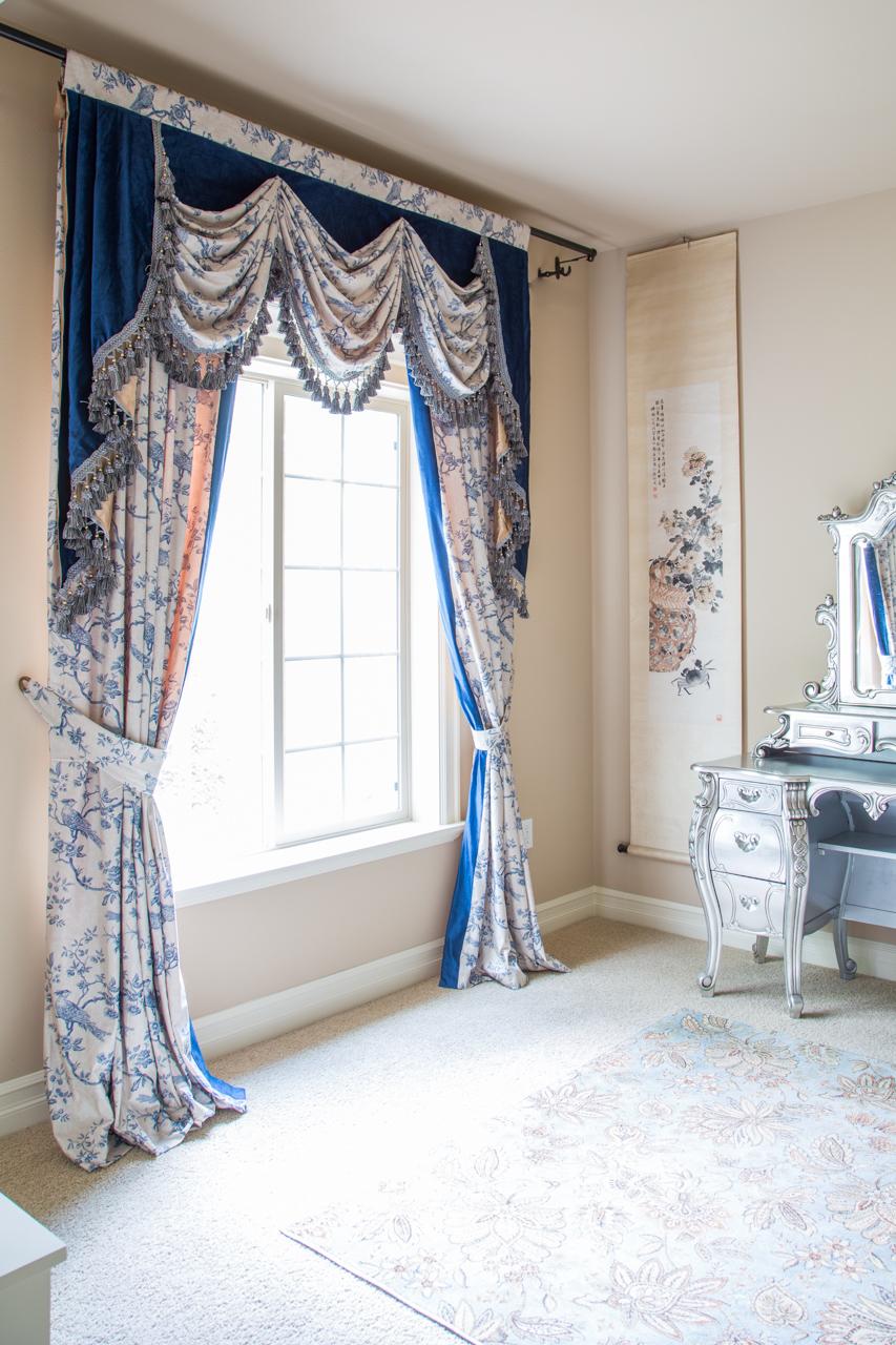 Pheasant On Rose Vine Blue Valance Curtain Set