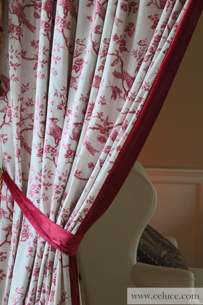 Pheasant On Rose Vine Red Valance Curtain Set