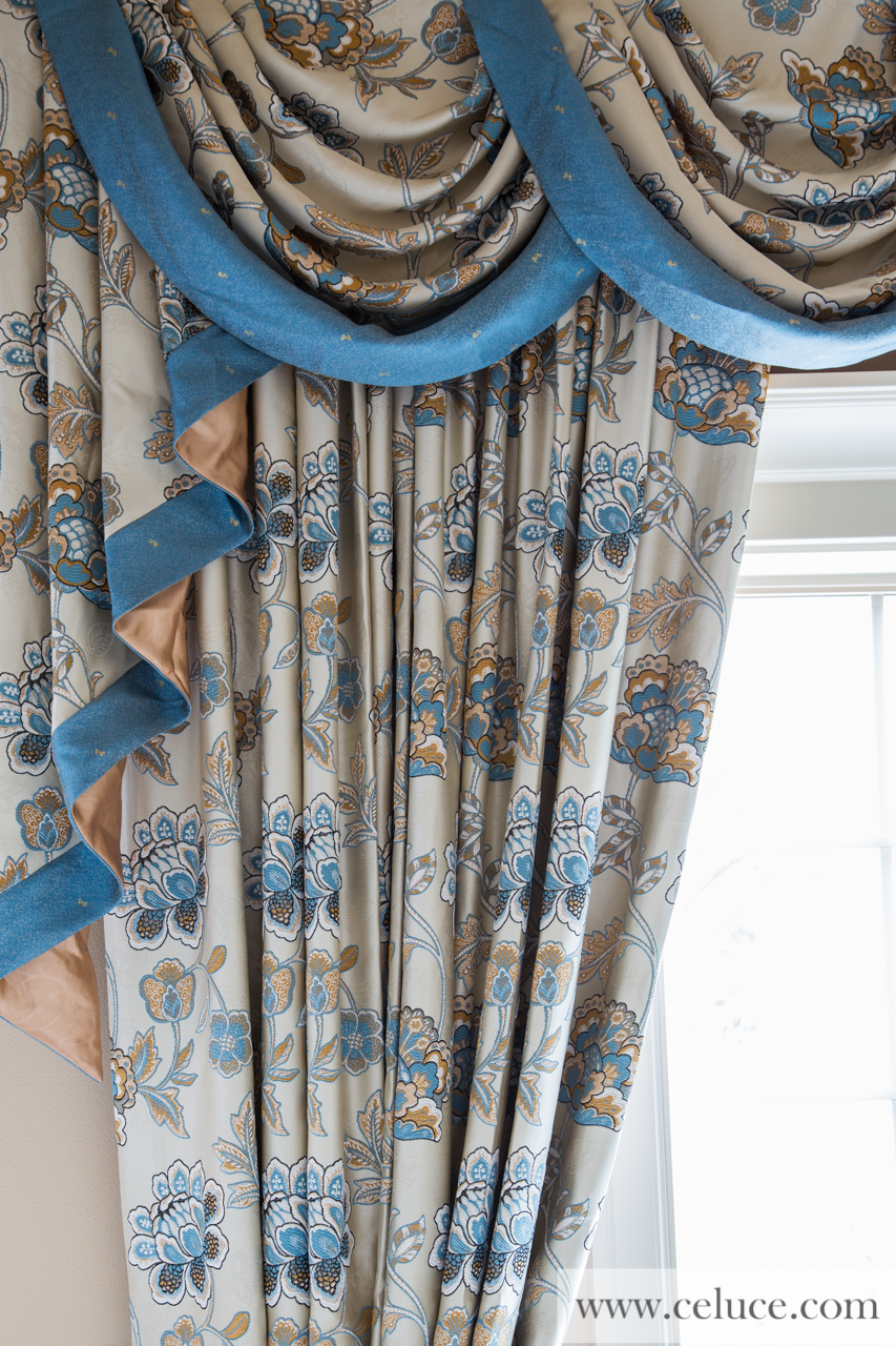 Persian garden half overlapping swag valance curtains for Celuce curtains