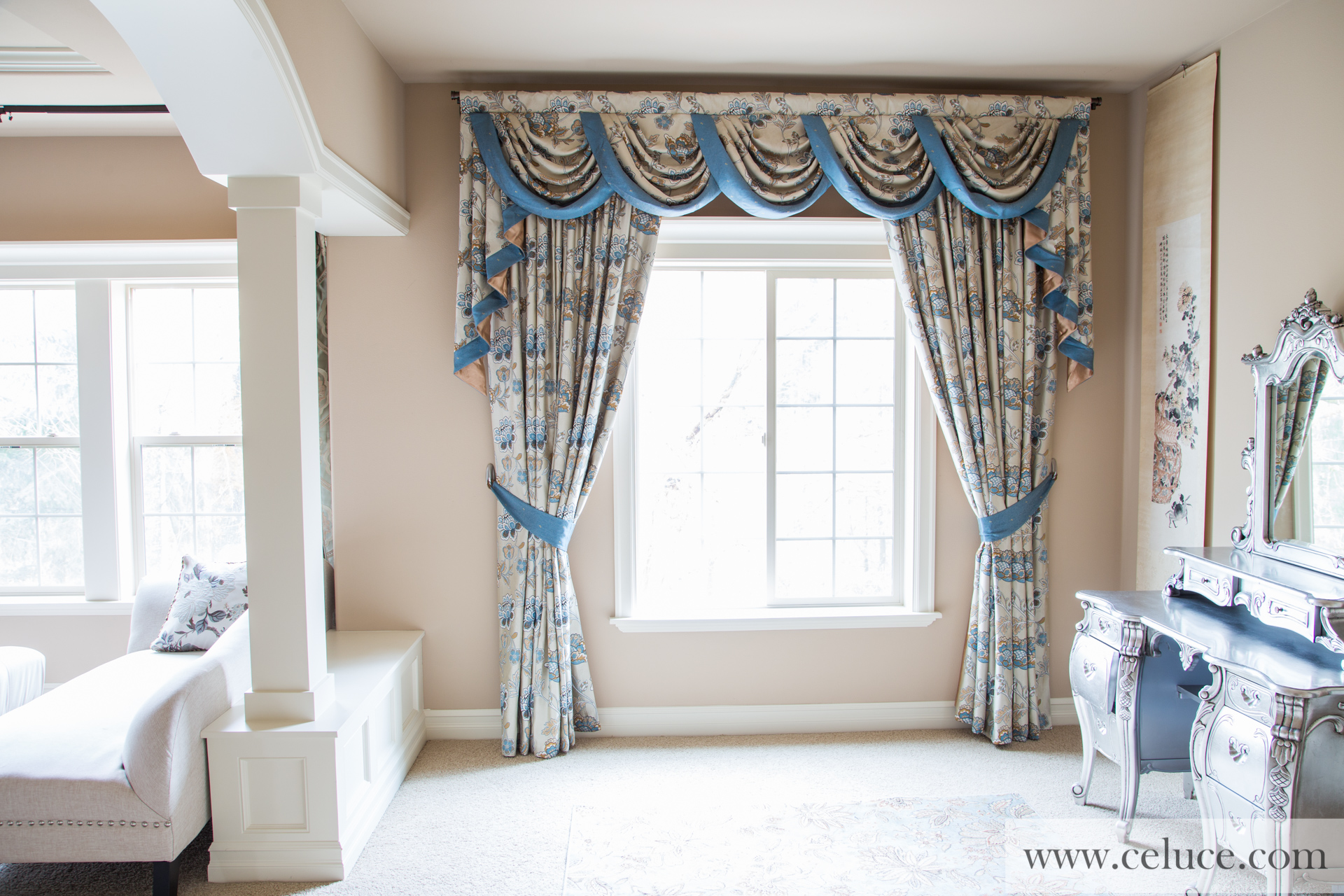 Persian Garden Half Overlapping Swag Valance Curtains