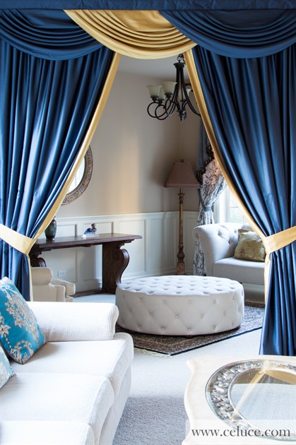 Classic Blue And Gold Swag Valance Curtain Set